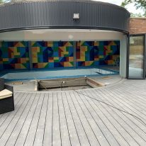 Raibow tiles - swimming pool acoustics