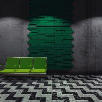 Blocks green acoustic tiles