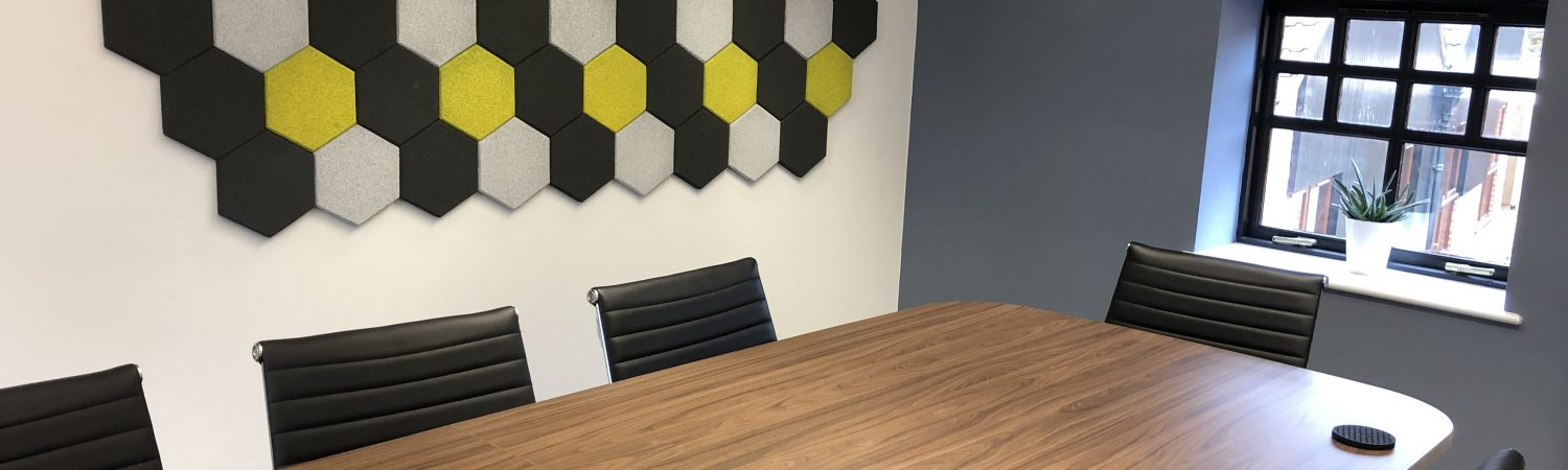 Acoustic tiles in meeting room