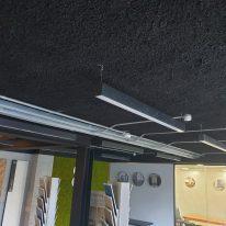 Black Acoustic Spray Plaster in open plan office
